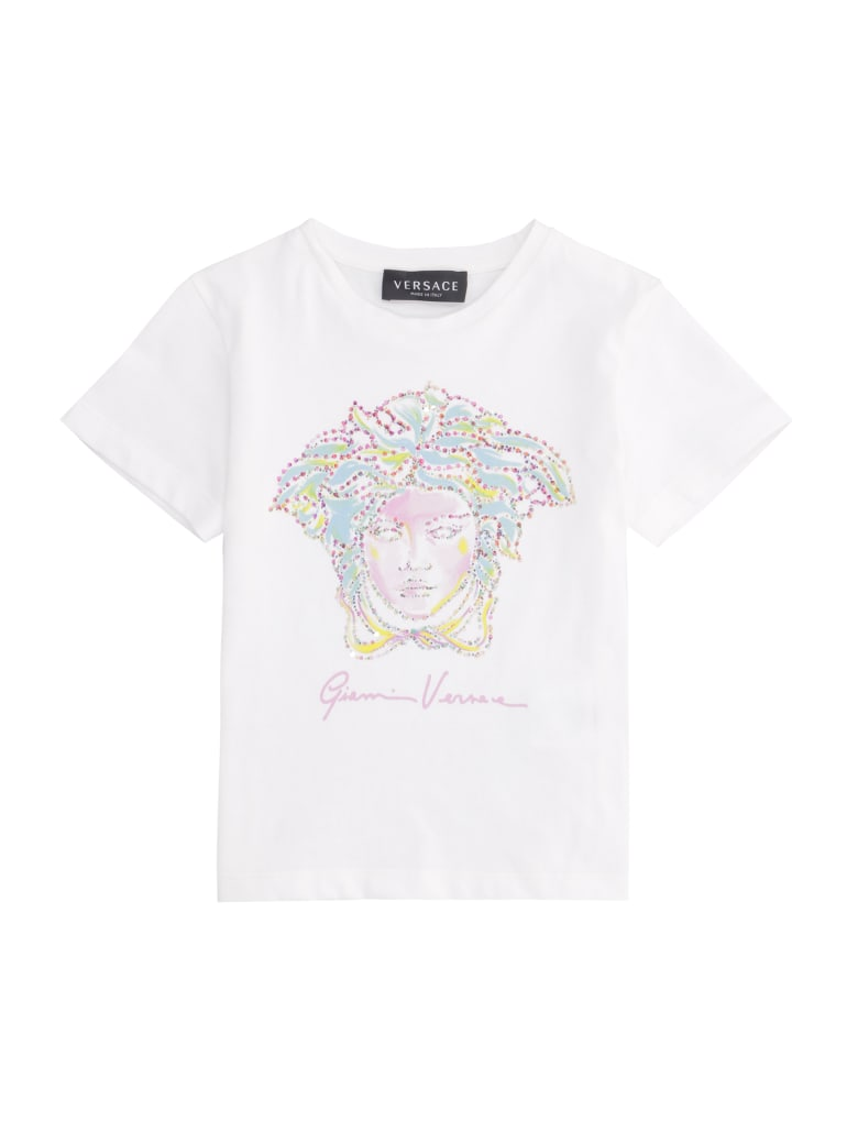 Young Versace Printed Cotton T-shirt - White