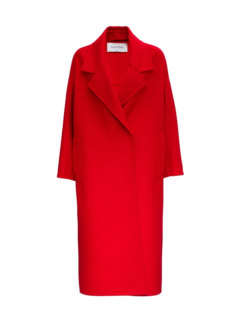 Valentino Wraparound Coat In Cashmere And Wool - Red