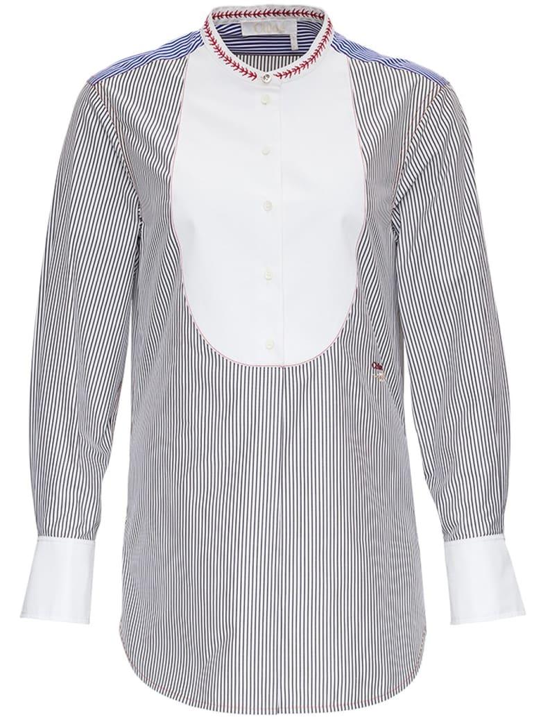 Chloé Striped Cotton Shirt With Contrasting Bib - Blu