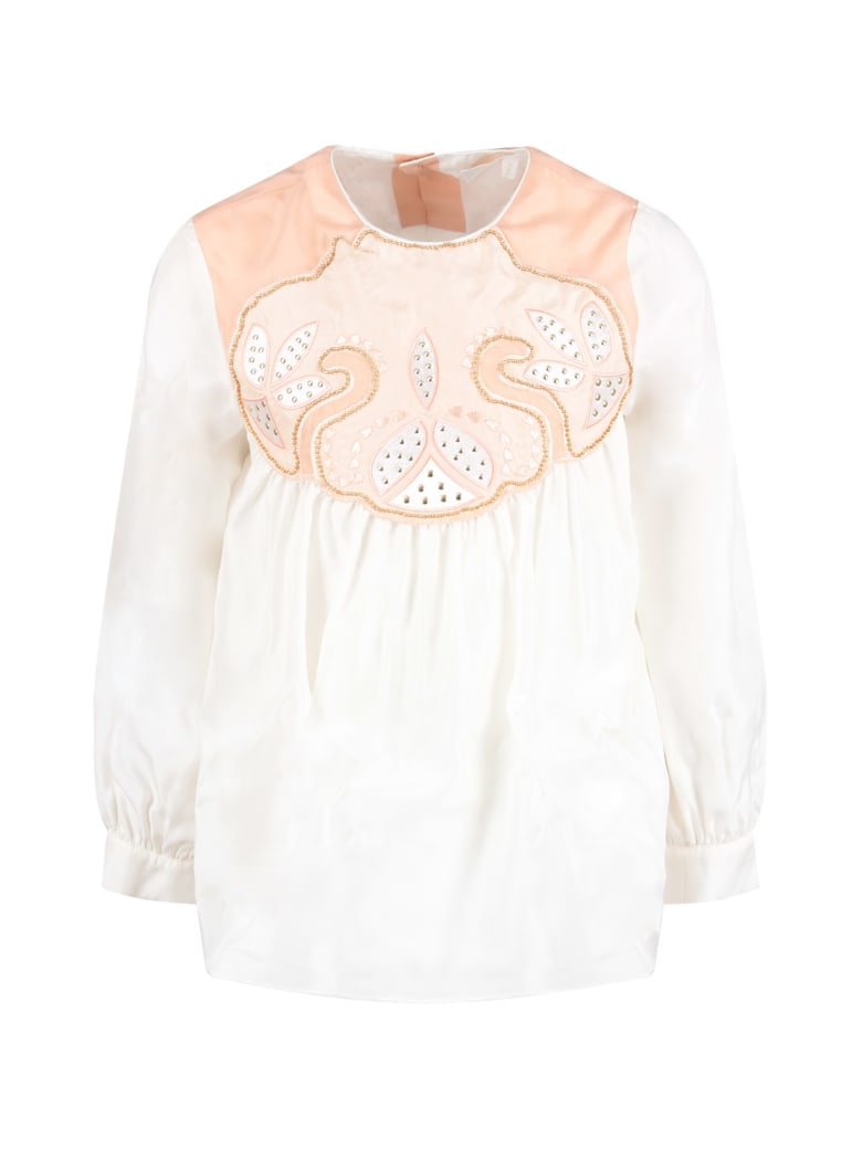 Chloé Pink And White Girl Blouse With White Logo - White