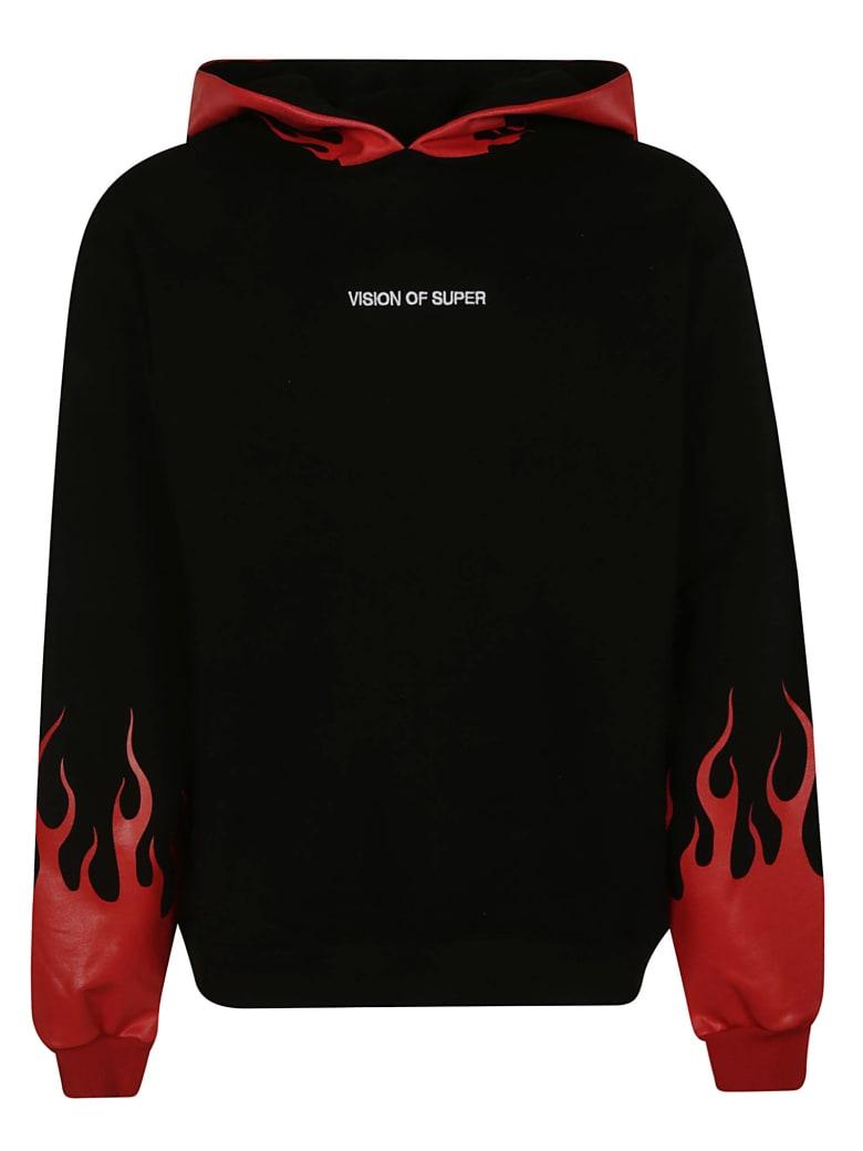 Vision of Super Flame Printed Hoodie - Black/Red