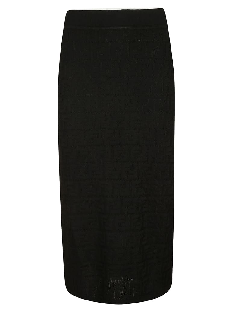 Fendi All-over Patterned Skirt - Black