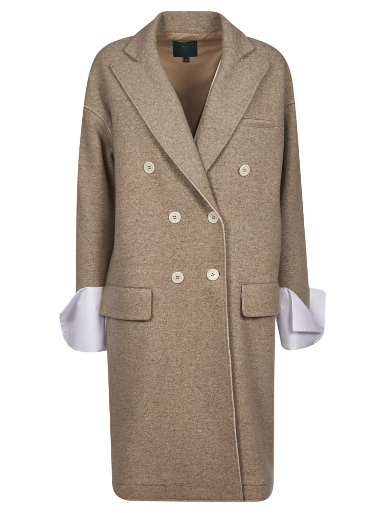 Jejia Double-breasted Coat - Beige/White