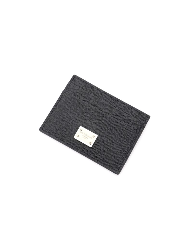 Dolce & Gabbana Leather Card Holder With Logo Plaque - NERO (Black)