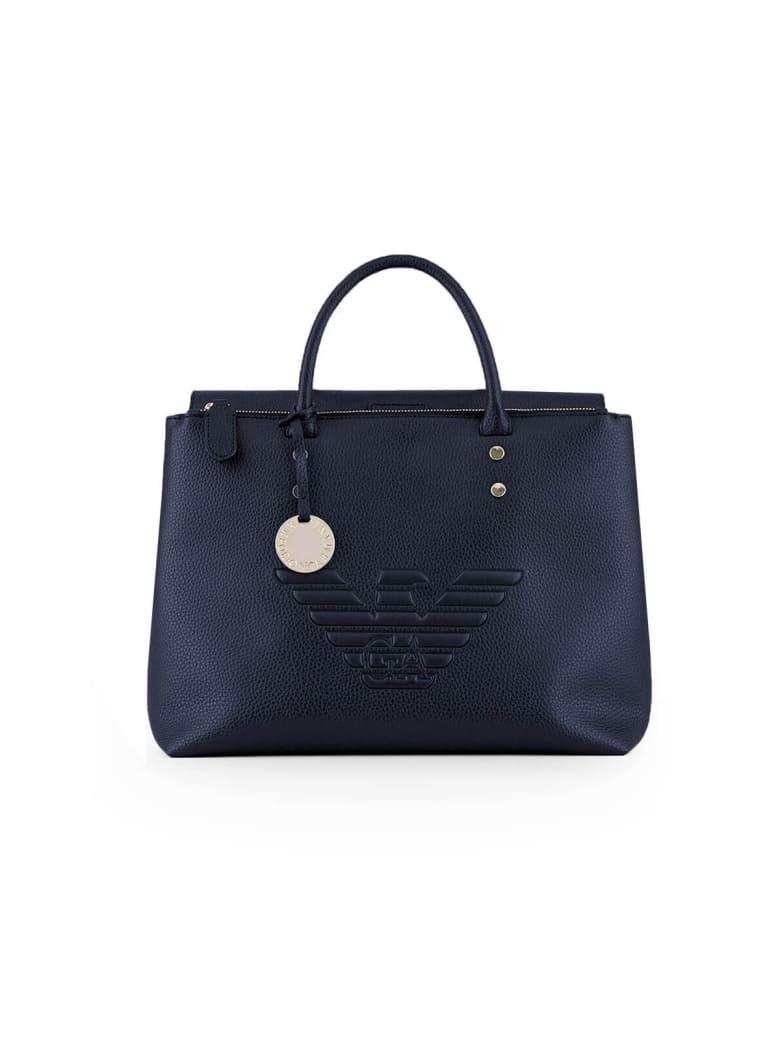 Emporio Armani Large Bleu Maxi Logo Handbag - Zen Blue (Blue)