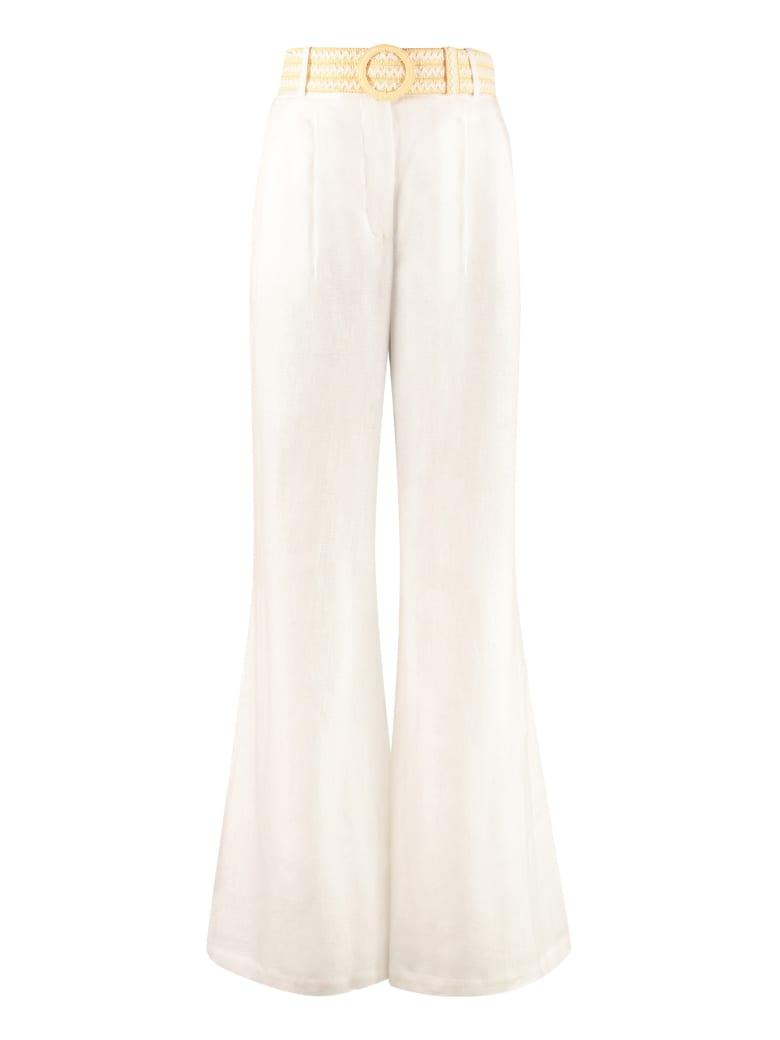 Zimmermann High-waist Wide-leg Trousers - panna
