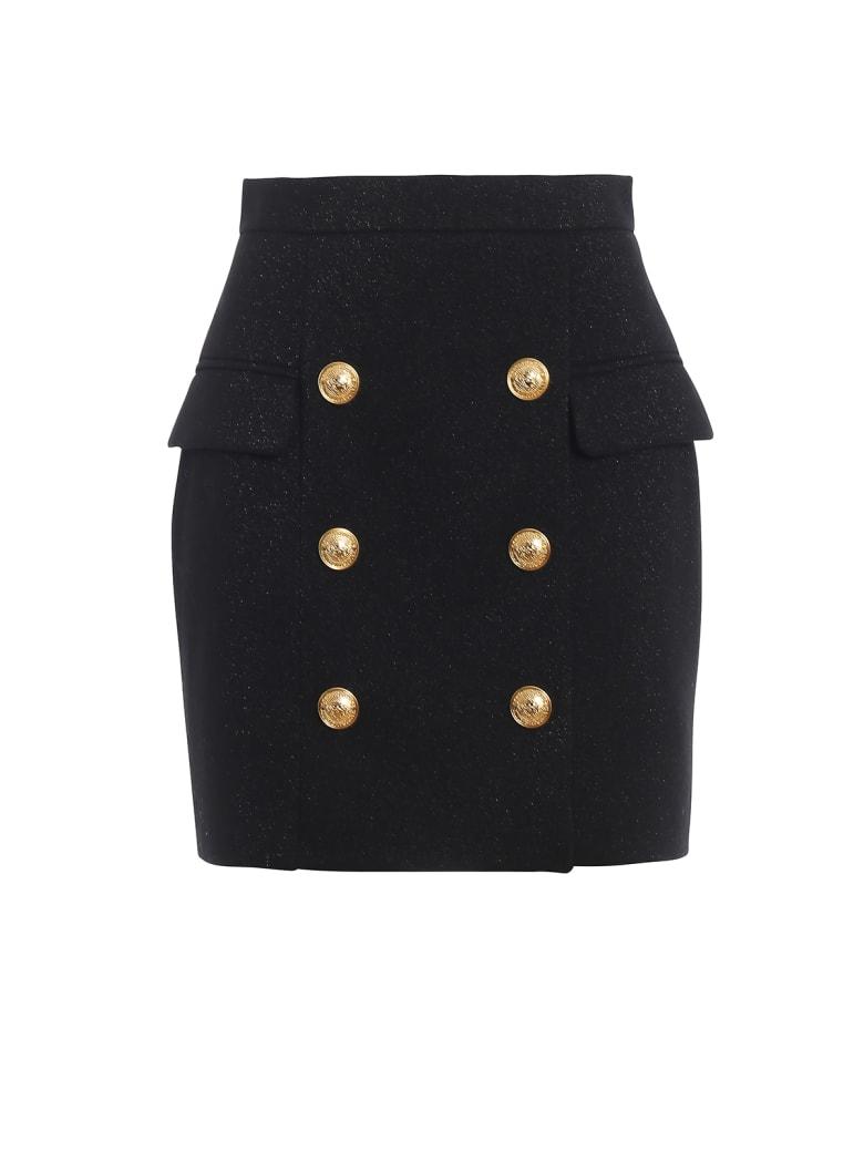 Balmain Glittering Wool Black Mini Skirt - Black