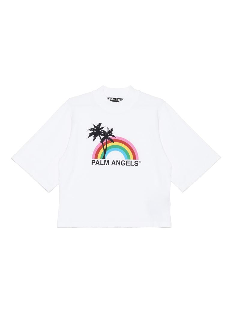 Palm Angels 'rainbow Logo' T-shirt - Bianco