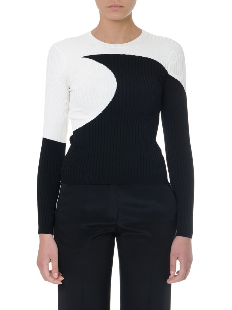 Valentino Two-color Cotton Ribbed Top - Black/ivory