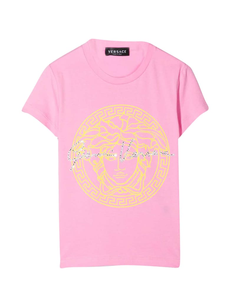 Young Versace Pink T-shirt With Print - Rosa/giallo