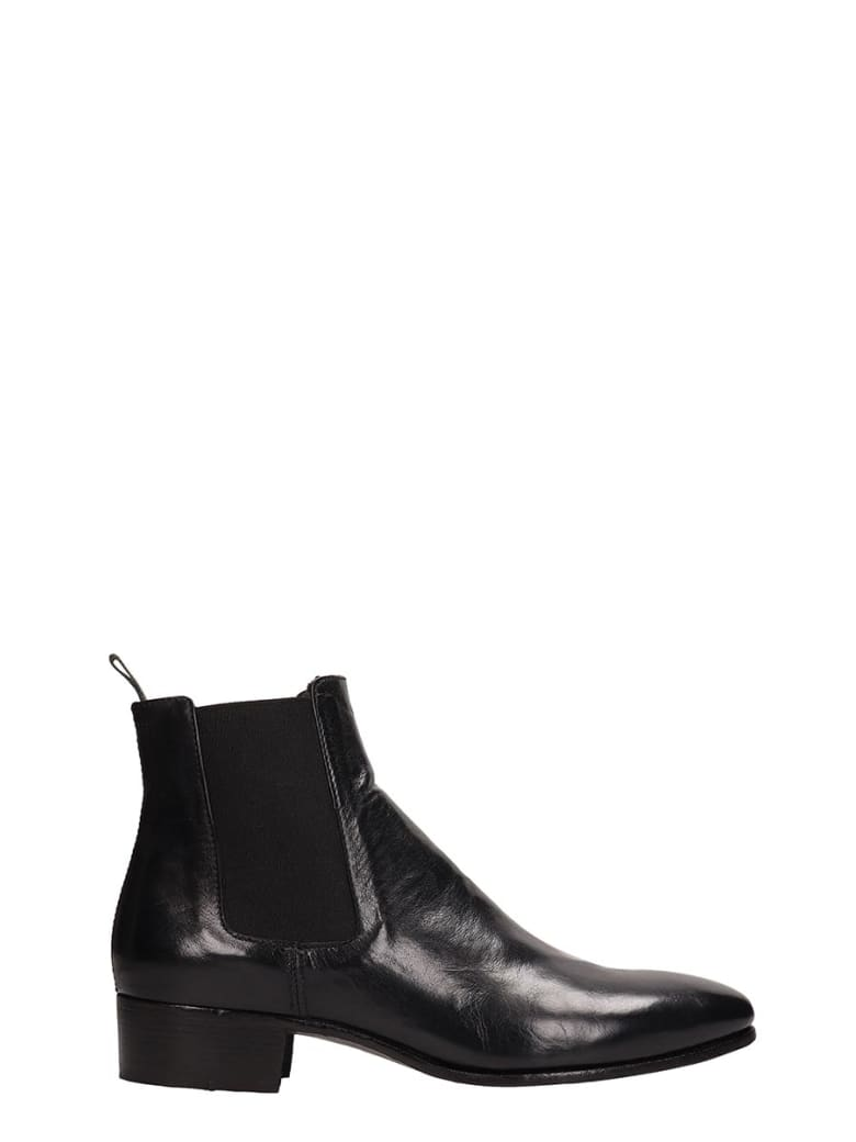 Officine Creative Black Leather Adrian Ankle Boots - black