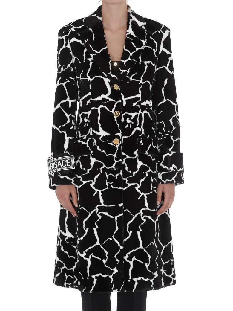 Versace Eco Fur Coat With Giraffe Motif - Black