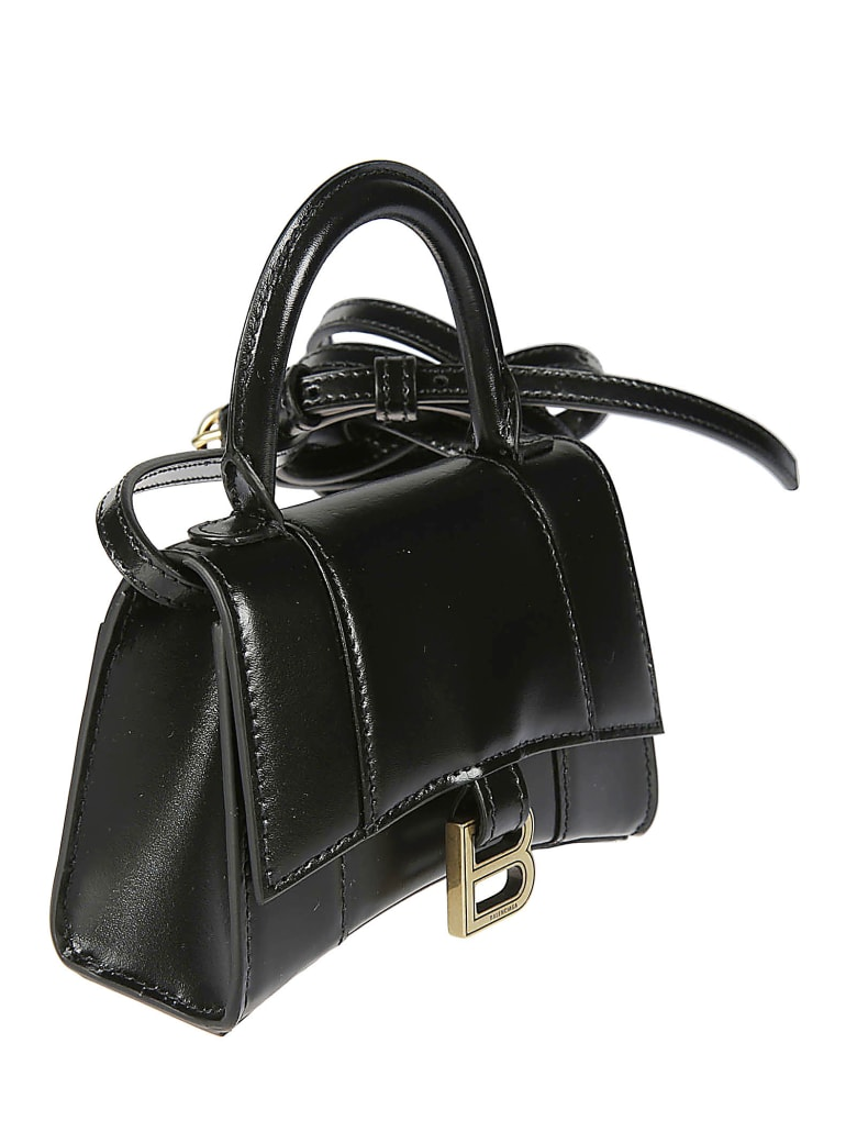 Balenciaga Hour Top Handle Mini Shiny Shoulder Bag - Nero
