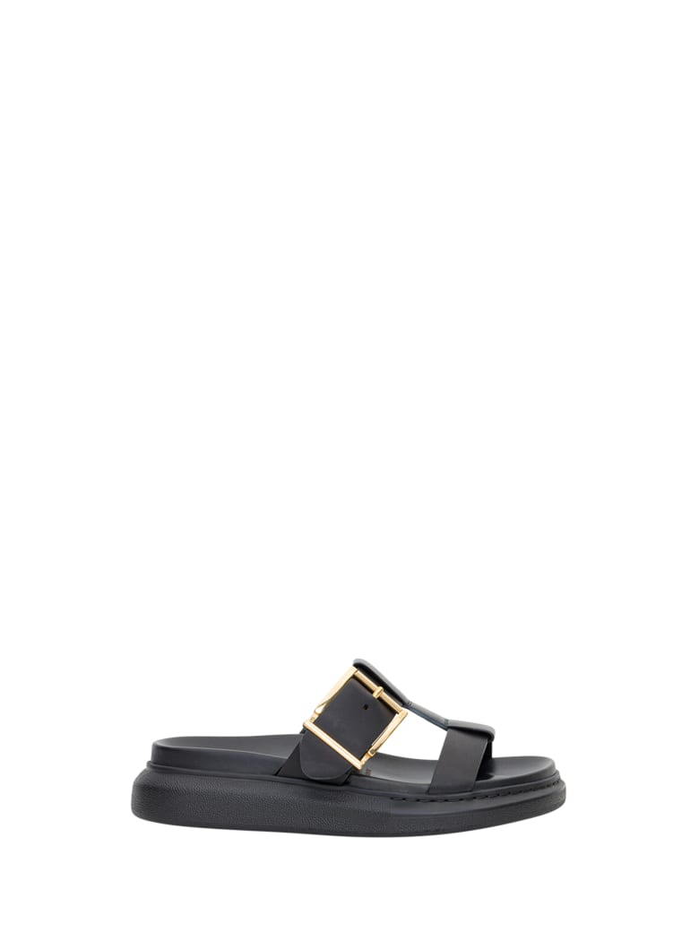 Alexander McQueen Hybrid Sandals With Oversized Sole - Black Gold
