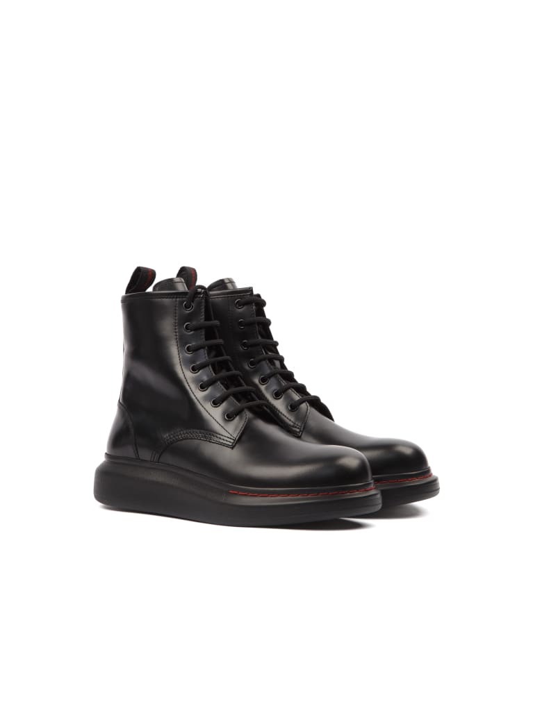 Alexander McQueen Hybrid Black Calf Leather Lace-up Boots - Black