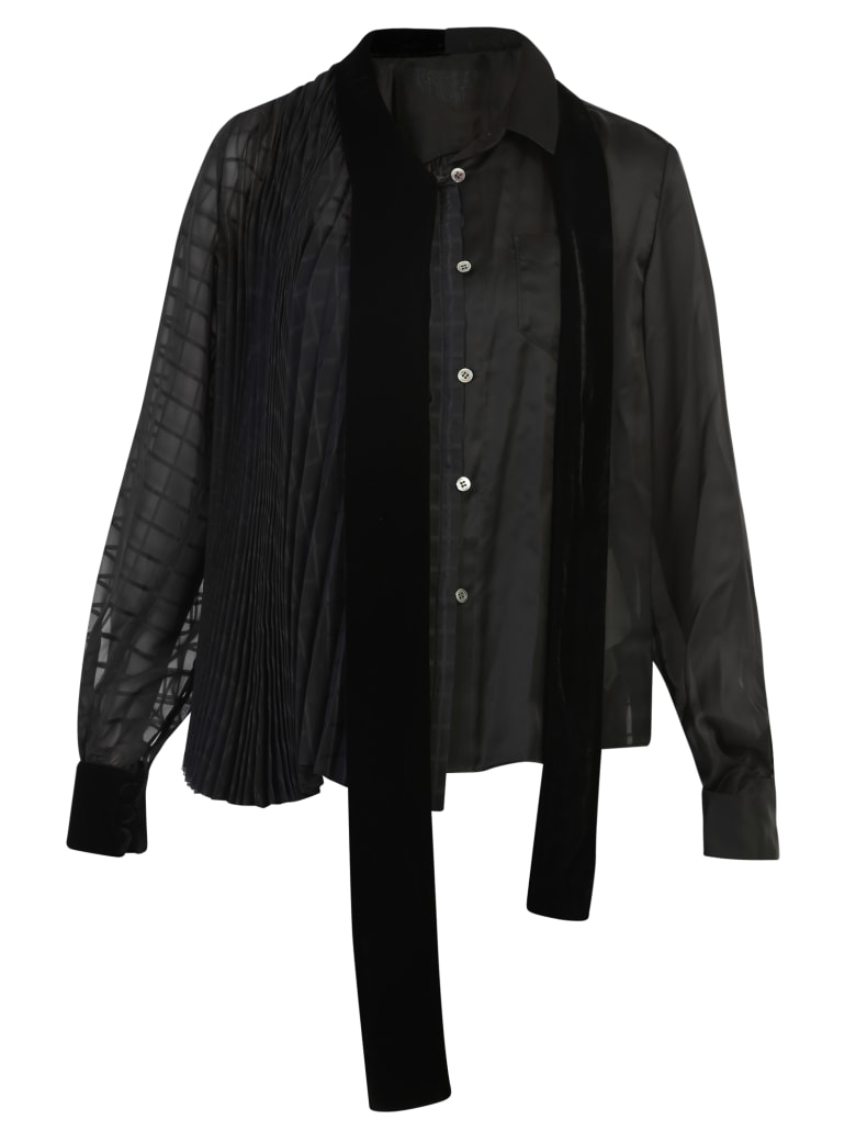 Sacai Pleated Blouse - Black