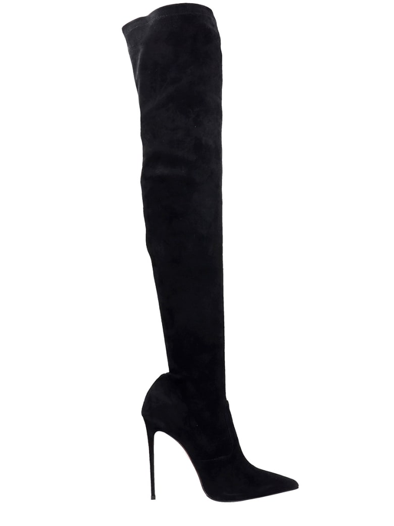 Le Silla Cuissard Eva Boots In Black Suede - black