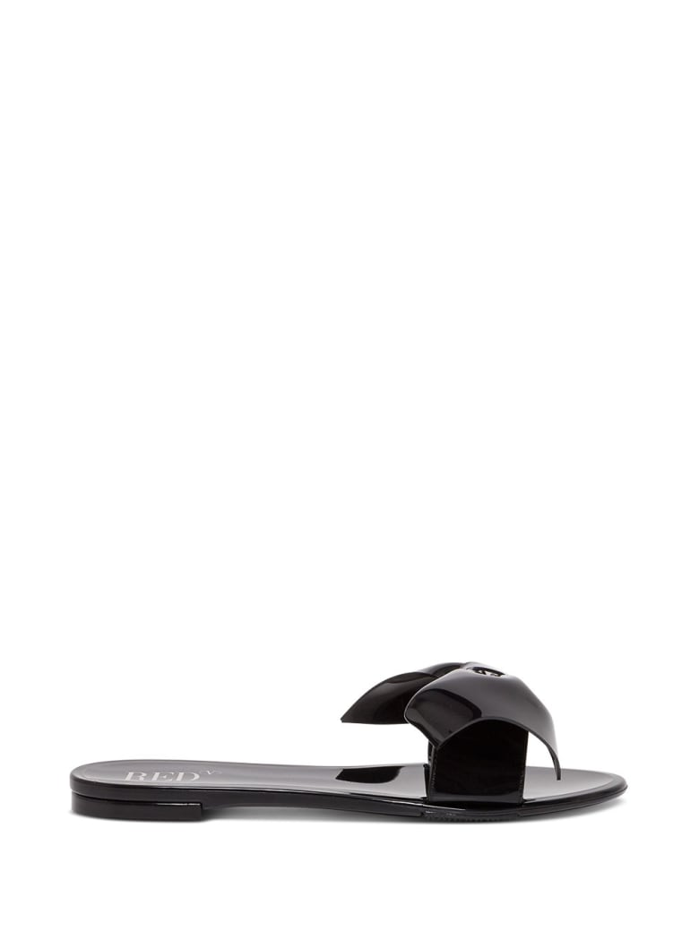 RED Valentino Rubber Sandals With Bow - Black