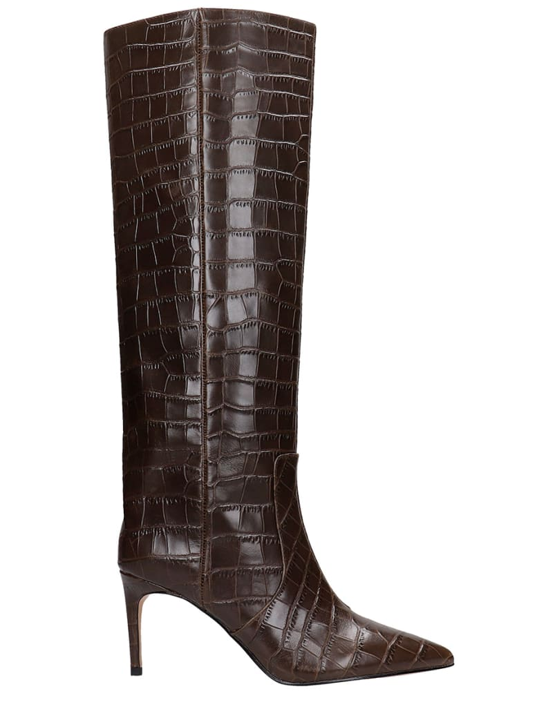 Kurt Geiger High Heels Boots In Brown Leather - brown