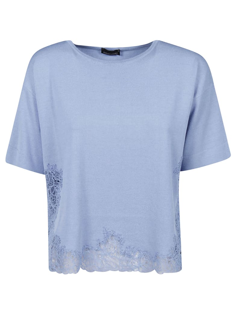 Ermanno Scervino Cropped Perforated T-shirt - periwinkle violet