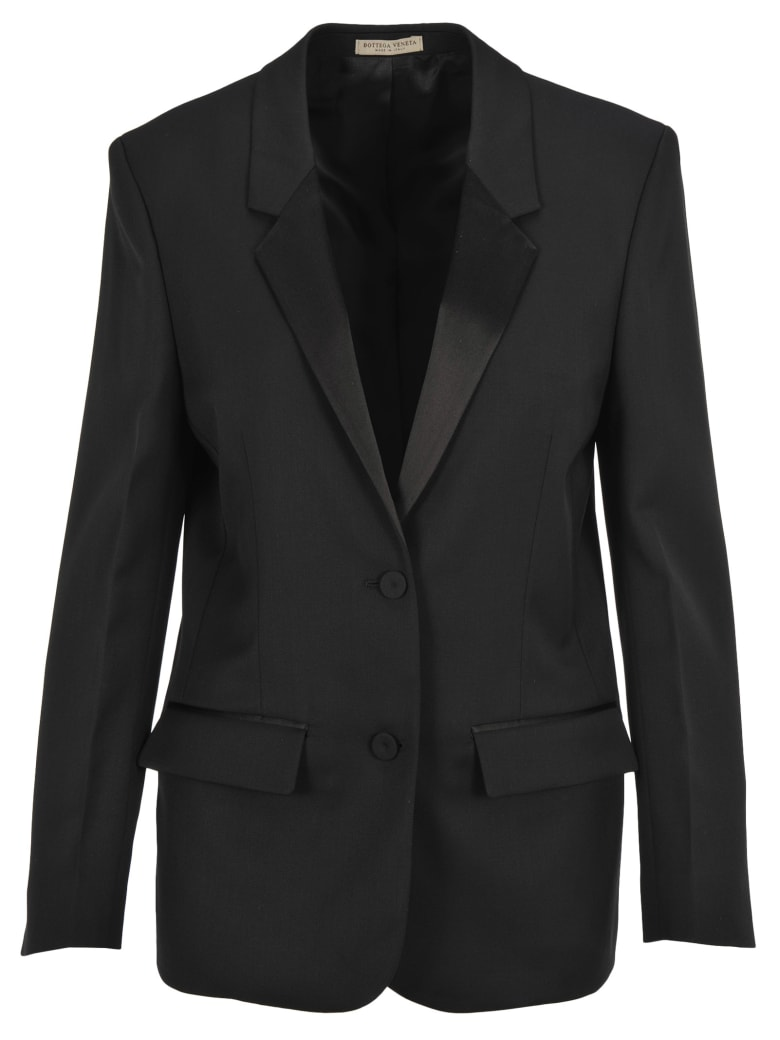 Bottega Veneta Bottega Veneta Satin Lapel Tuxedo Blazer - BLACK