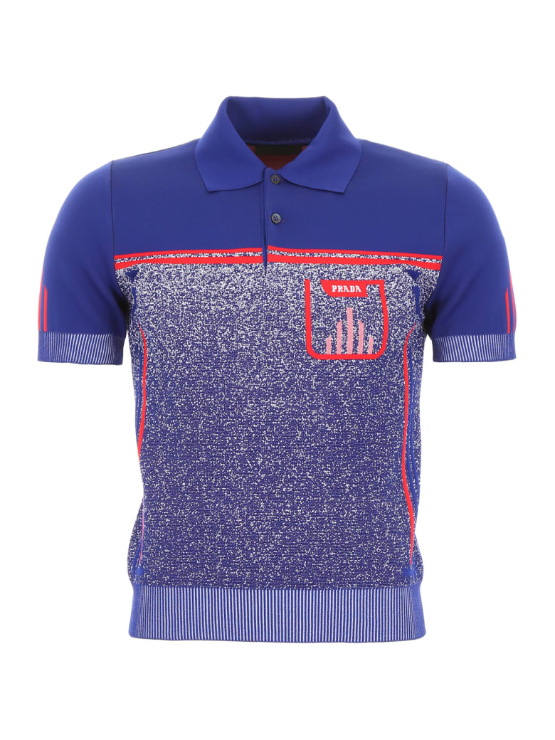 Prada Mouliné Polo Shirt - BLUETTE ROSSO (Blue)