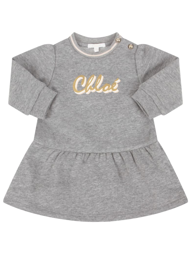 Chloé Grey Dress With Colorful Logo For Baby Girl - Grey