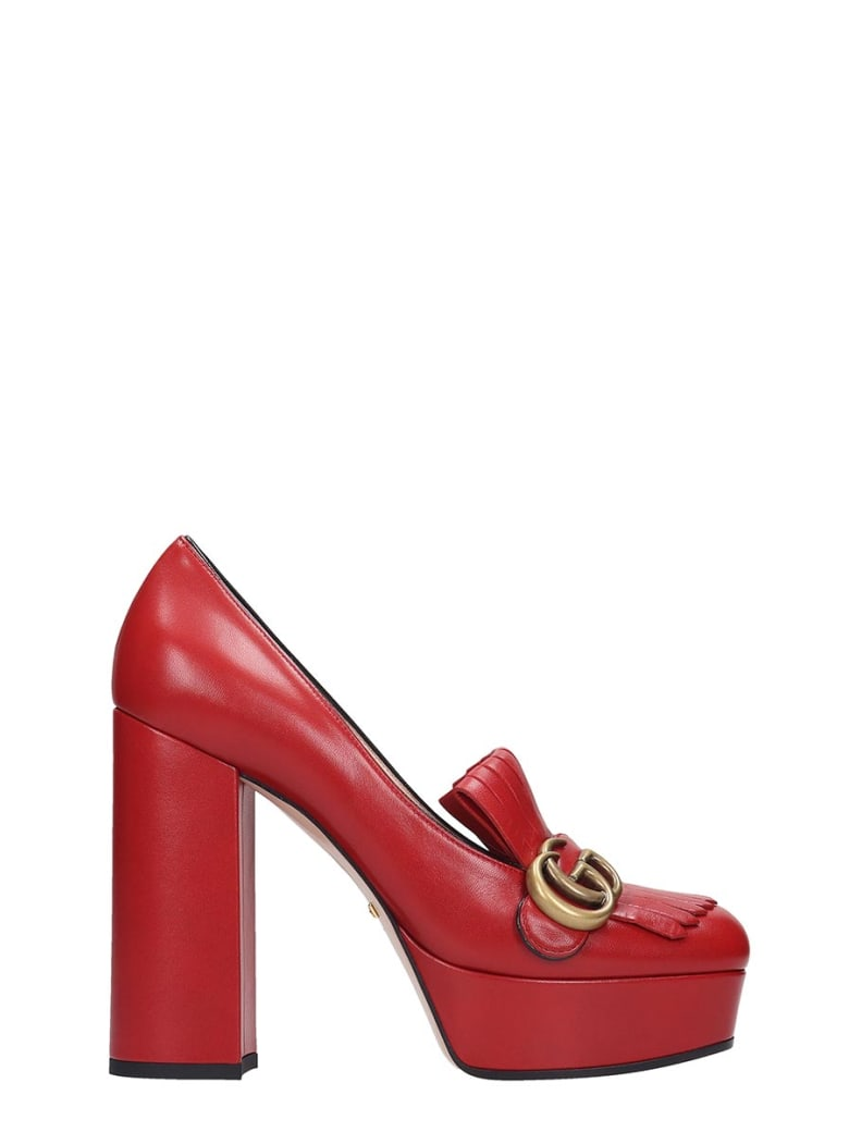Gucci Pumps In Red Leather - red