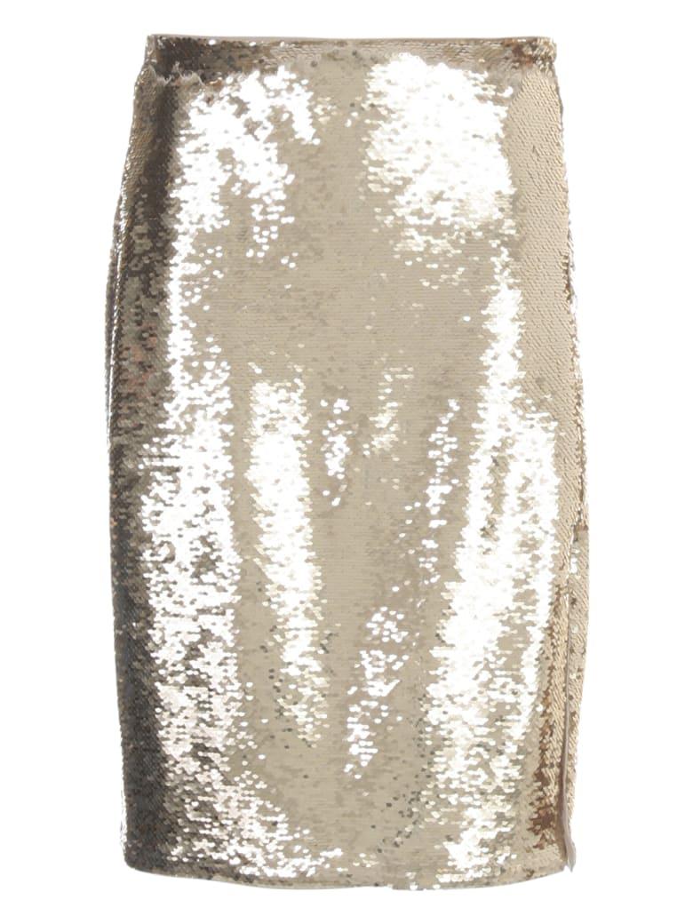 Emporio Armani Pencil Skirt W/paillettes - Oro