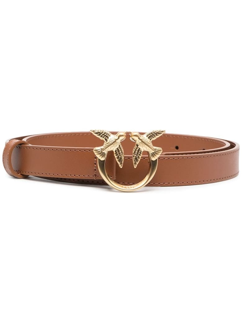Pinko Love Berry Belt In Brown Leather With Logoed Buckle - Cuoio