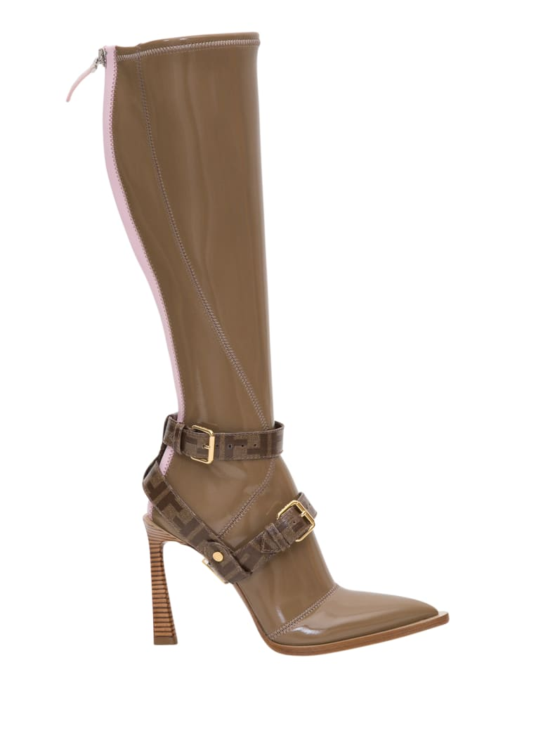 Fendi Fframe Pointed-toe Boots - Beige