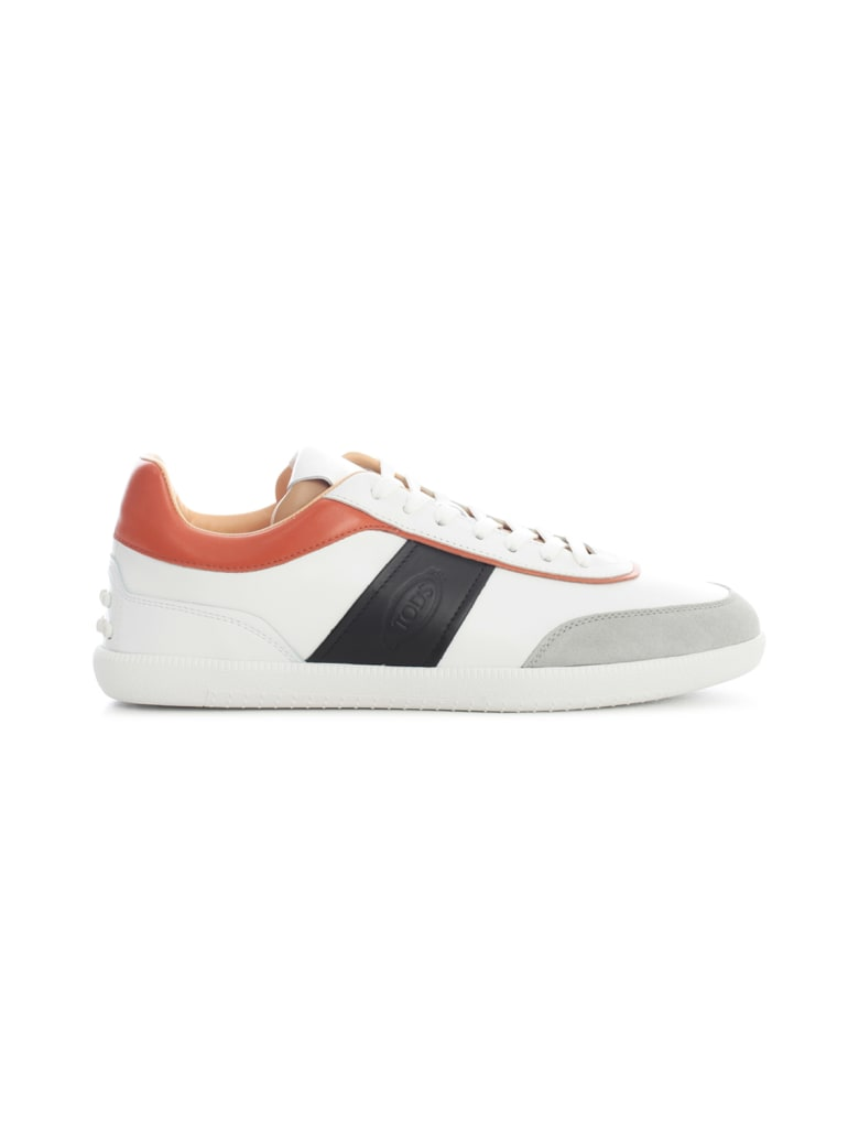 Tod's Leather Sneakers W/contrast Band - Xnf Grey White Black