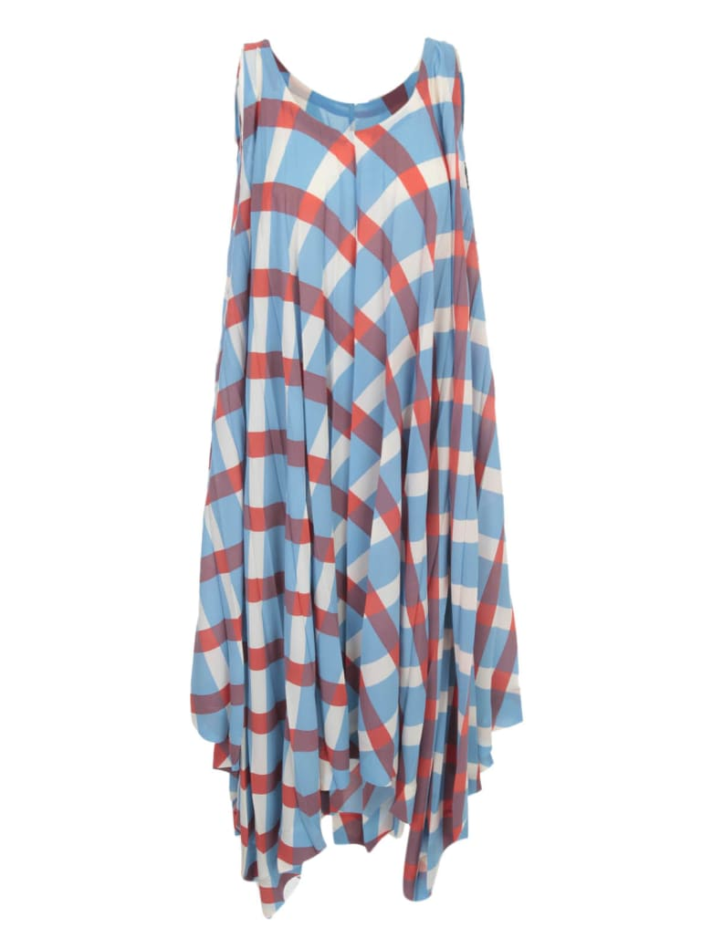 Issey Miyake Long Pleated Dress W/s Crew Neck - Blue Hued
