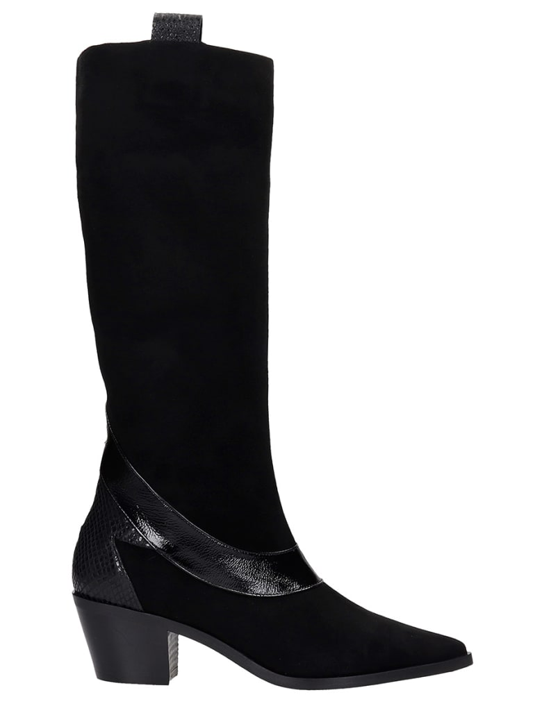 Alchimia Texan Boots In Black Suede - black