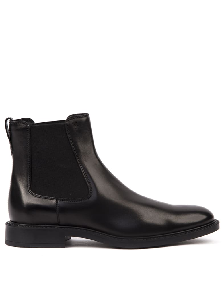 Tod's Black Leather Ankle Boots - Black