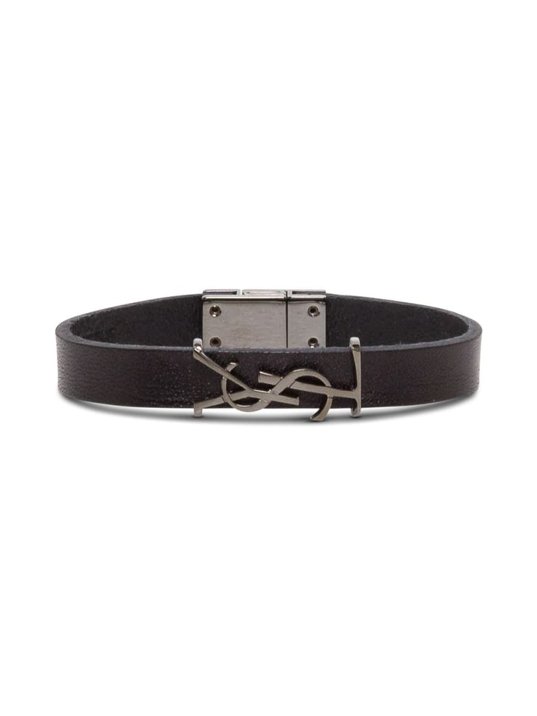 Saint Laurent Leather Bracelet With Logo Buckle - Black