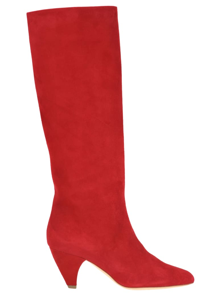 Laurence Dacade Laurence Dacade Mid Length Suede Boots - RED