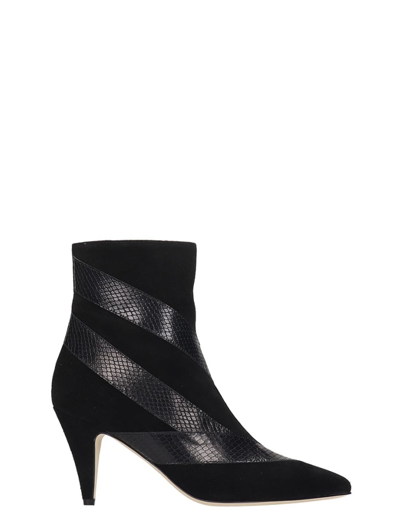 GIA COUTURE High Heels Ankle Boots In Black Suede - black