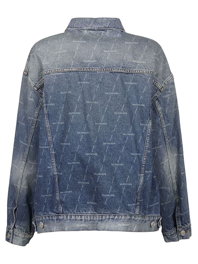 Balenciaga All-over Logo Denim Jacket - Blu Denim