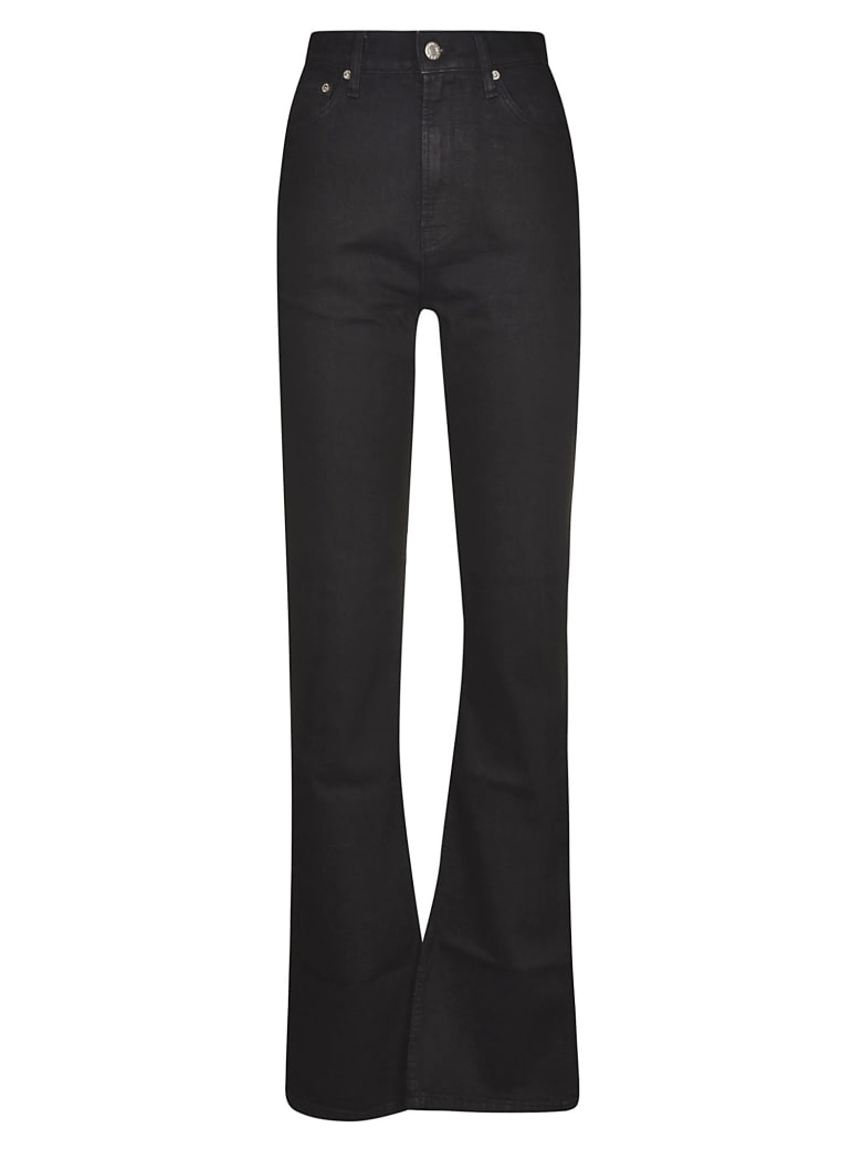 Helmut Lang Flared Leg Embroidered Logo Jeans - Black