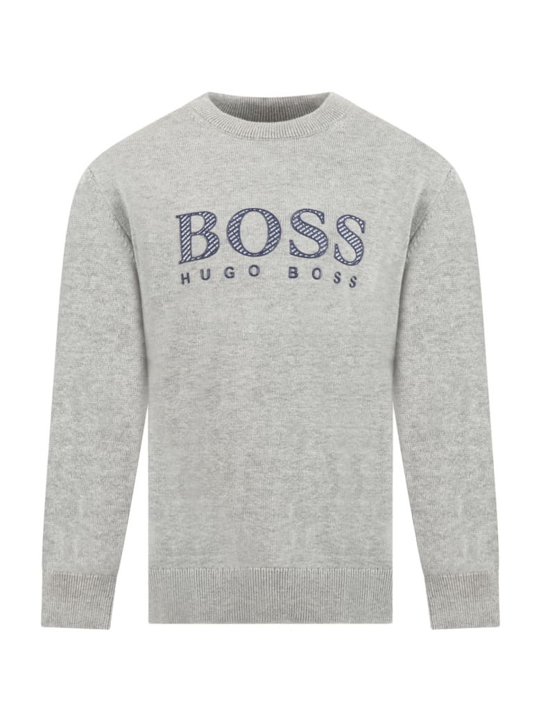 Hugo Boss Grey Sweater For Boy With Logo - Grey