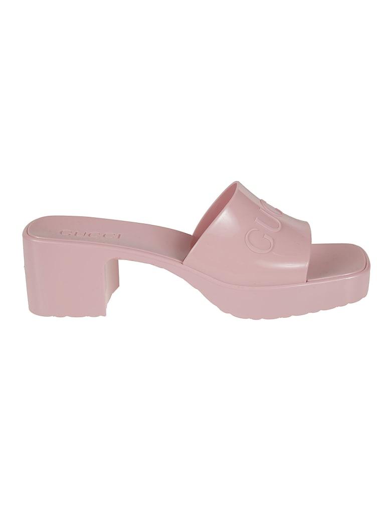 Gucci Block Heel Slide-on Sandals - Wild Rose