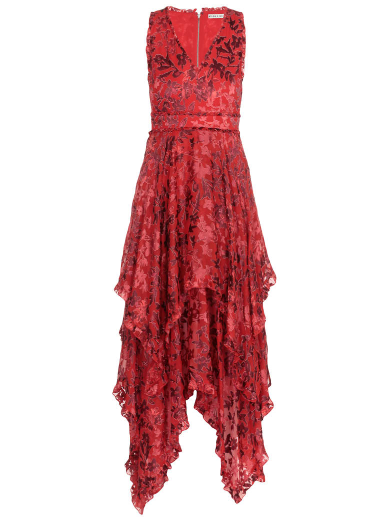 Alice + Olivia Long Dress - SHADOW BLOSSOM PAPRIKA