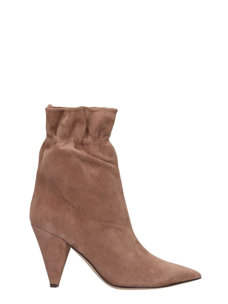 Fabio Rusconi High Heels Ankle Boots In Powder Suede - powder