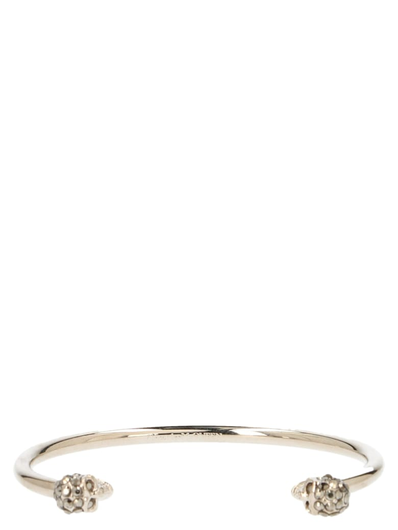 Alexander McQueen 'thin Twin Skull' Bracelet - Gold