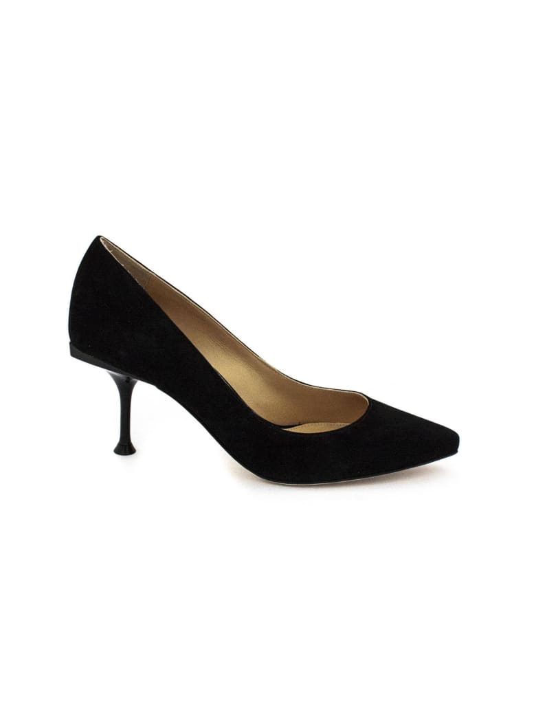 Sergio Rossi Black Suede Leather Pointed-toe Decollete'. - Nero