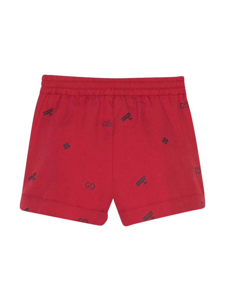 Gucci Red Shorts With Elastic Waistband - Verde/rosso