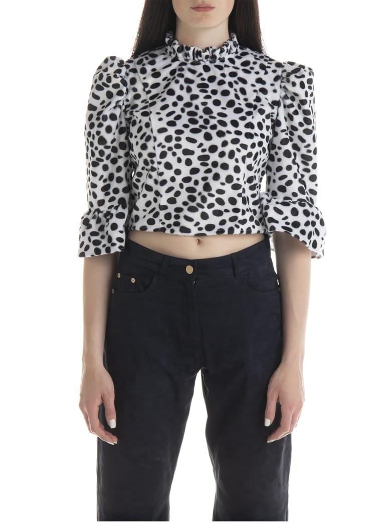 Batsheva Dalmatian Furry Cropped Blouse - Dalmatian Faux Fur