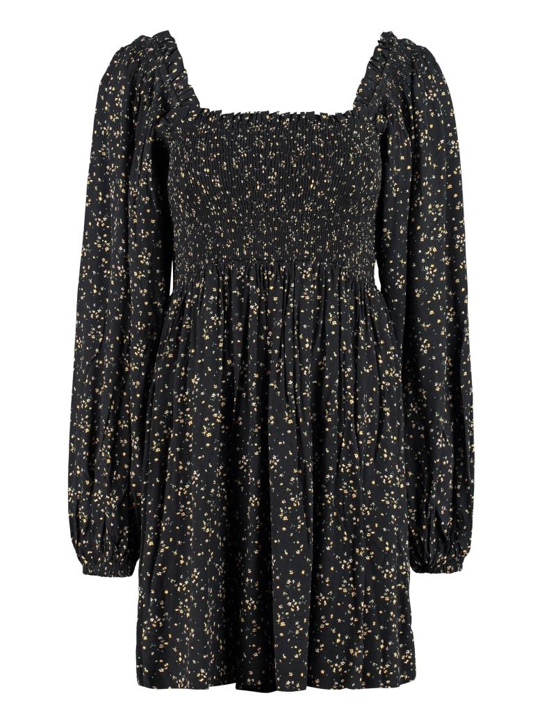 Ganni Floral Printed Flared Dress - black