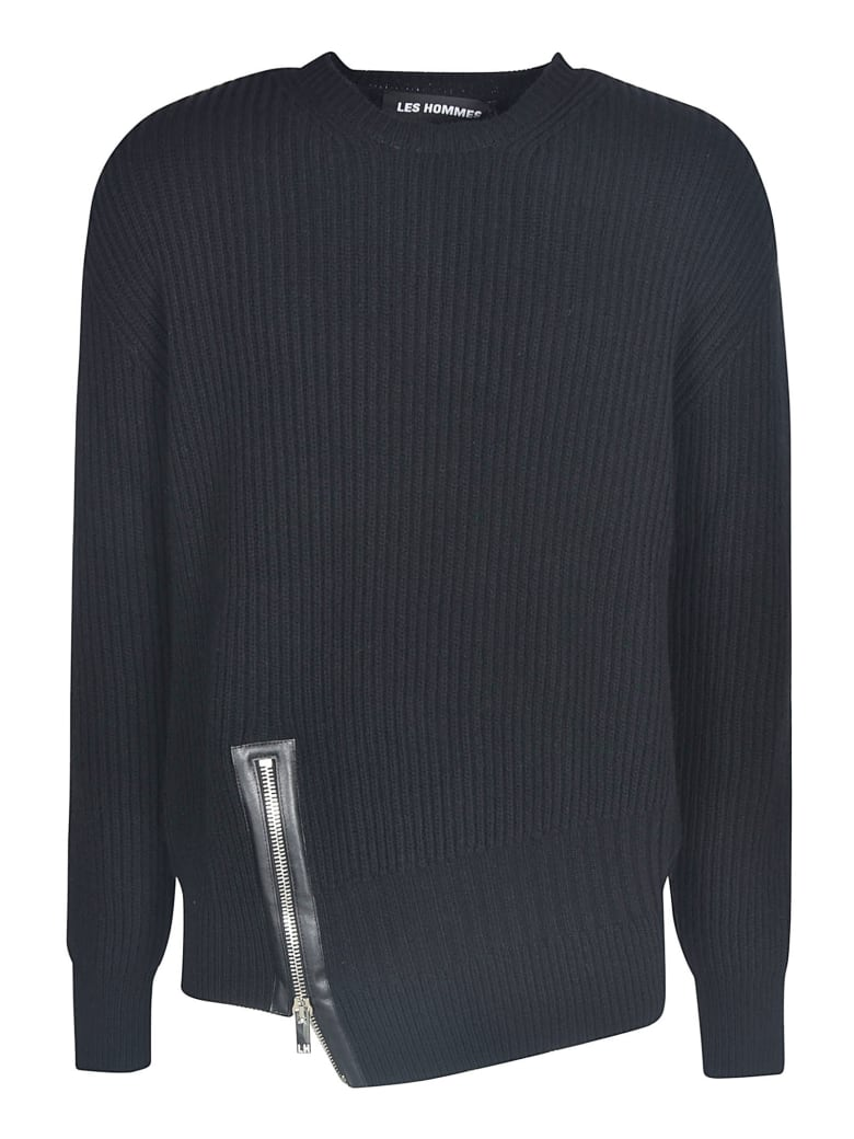 Les Hommes Asymmetric Zip Round Neck Sweater - Black